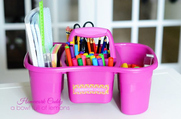 DIY Back to School Homework Station Ideas - Create an easy to carry homework caddy including a list of must have supplies via a bowl full of lemons