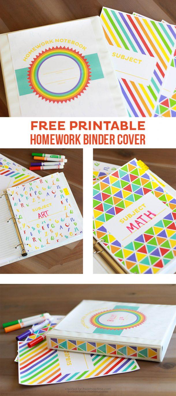 DIY Back to School Homework Station Ideas - Homework Organizer Binders with Free Printable Covers via i heart naptime