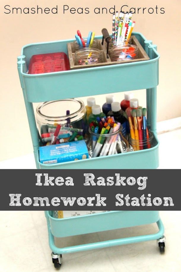 DIY Back to School Homework Station Ideas - IKEA Raskog Cart Hack DIY Mobile Rolling Homework Station via Smashed Peas and Carrots