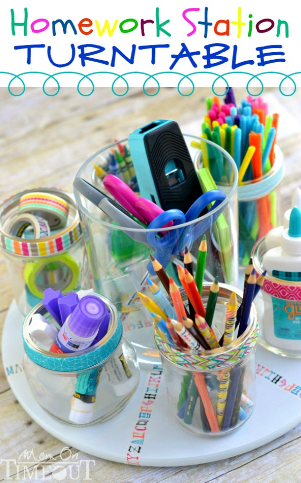 DIY Back to School Homework Station Ideas - Turntable Style Homework Station - perfect for the kitchen table via Mom on Timeout