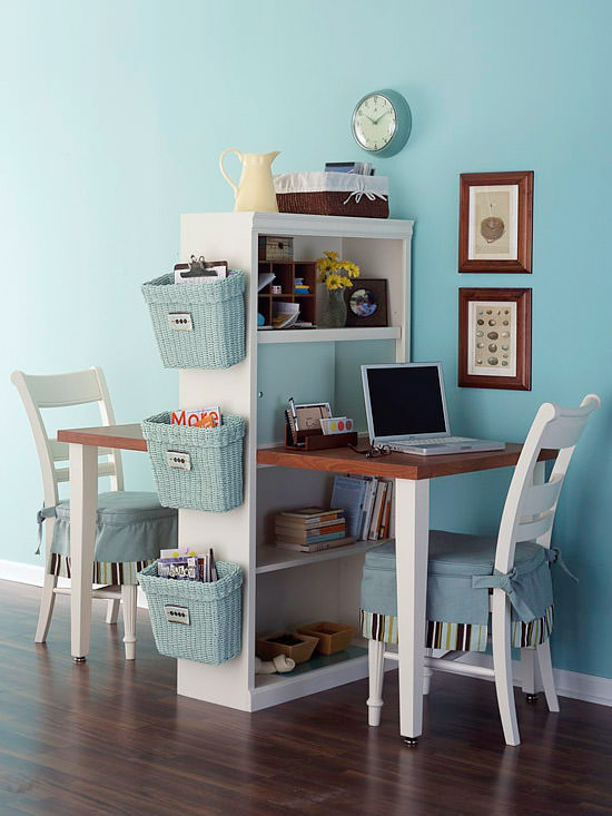DIY Back to School Homework Station Ideas - Use a bookcase and tabletop to create a homework station or office space for two via decorating your small space