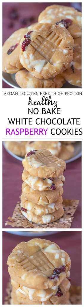 Healthy No Bake White Chocolate Raspberry Cookies Recipe - Vegan Gluten Free High Protein Recipe via The Big Mans World