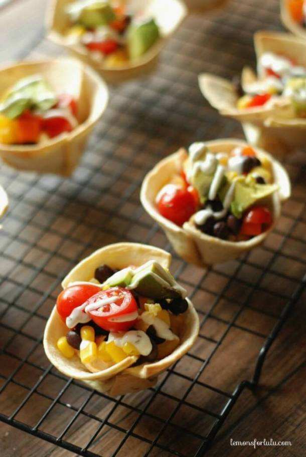 Mini Veggie Taco Tortilla Cups Recipe via Lemons for Lulu - Fun Back to School Lunch Ideas and Recipes