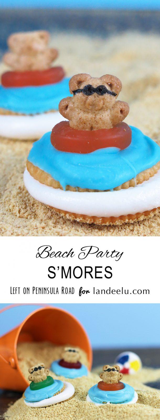 S'Mores Dessert Treats Recipes - Microwave Beach Party S'mores with cute Teddy Grahams Recipe via Landeelu