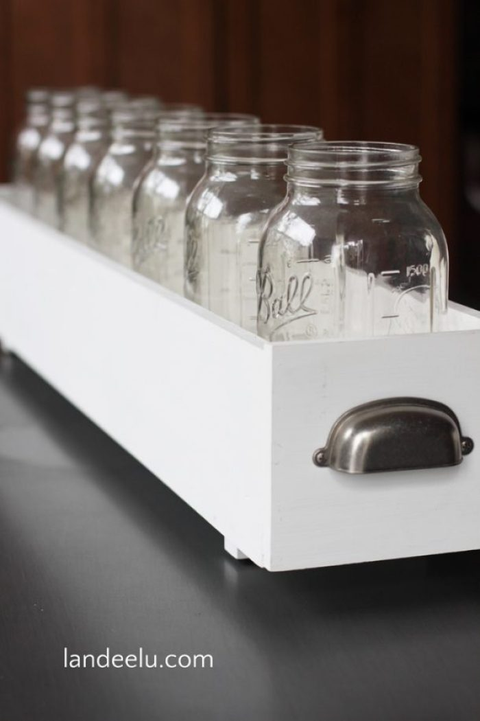 Build a simple box to hold mason jars and create a darling candy bar for any occasion!