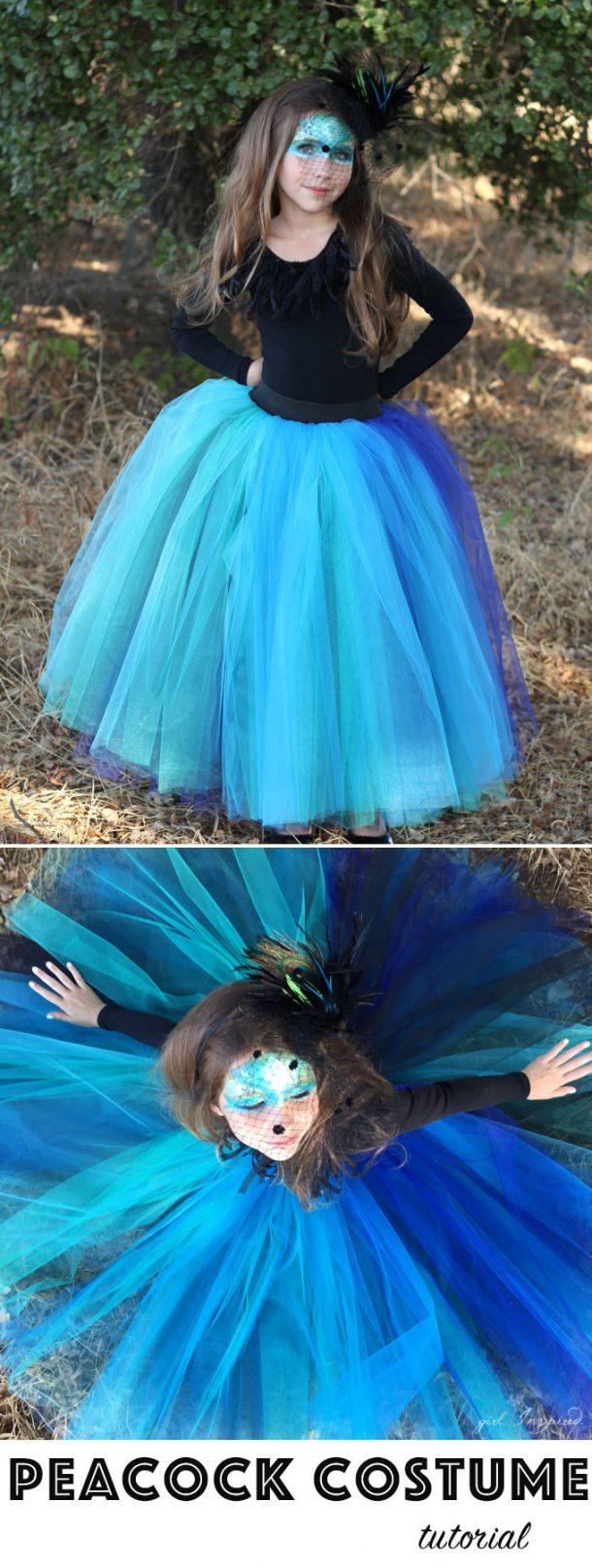 DIY Halloween Costumes Ideas - Beautiful and EASY Peacock Long Tutu Costume DIY Tutorial via girl. Inspired.
