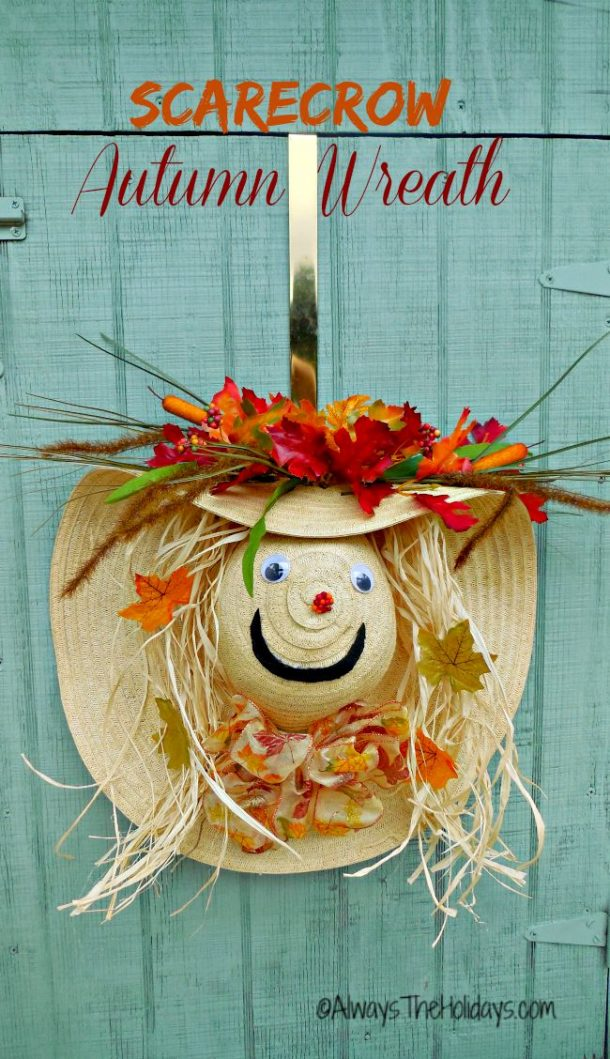 DIY projects - Fall Wreaths - Adorable Scarecrow Wreath from a Floppy Hat via Always the Holidays