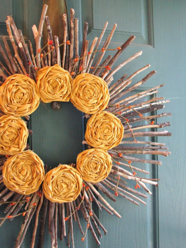 DIY projects ideas - Fall Wreaths - This one is so precious made with broken sticks and fabric rosettes via Yellow Mums