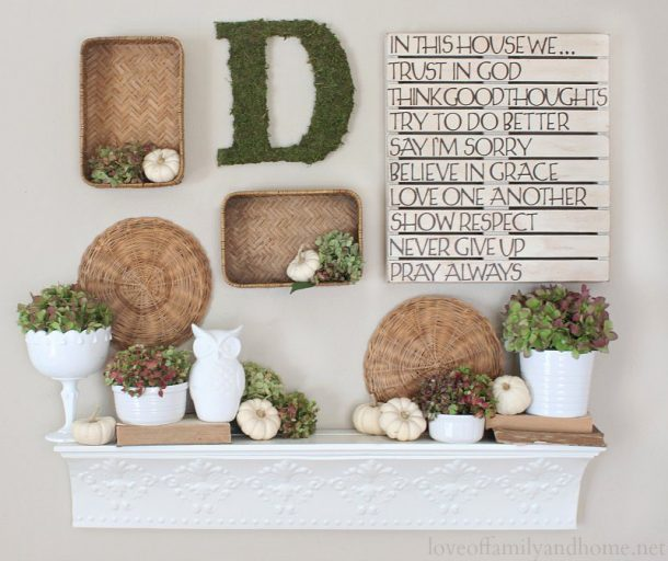 Do it Yourself Greenery and Moss Monogram Fall Mantel Inspiration Home Decor Ideas for Autumn via Love of Family and Home