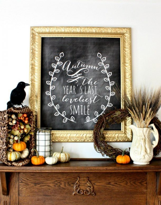 Do it Yourself Harvest Autumn Chalkboard Fall Mantel Inspiration DIY Home Decor Ideas via Nest of Posies