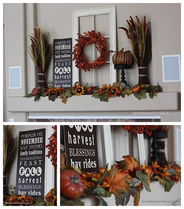 Do it Yourself Harvest-y Fall Goodness Mantel DIY Inspiration Autumn Home Decor Ideas via Landeelu