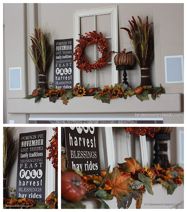 Do it Yourself Harvest-y Fall Goodness Mantel DIY Inspiration Autumn Home Decor Ideas via Landeelu