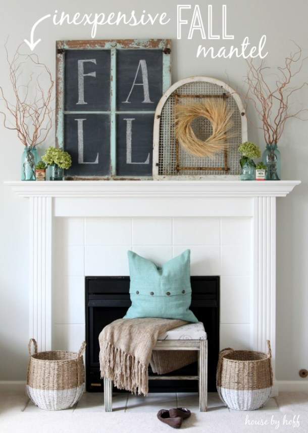 Do it Yourself Inexpensive Fall Mantel with Pops of Turquoise Inspiration Home Decor Ideas for Autumn via House by Hoff