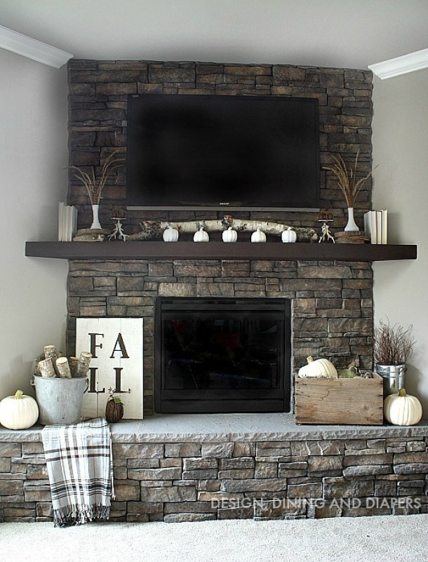 Do it Yourself Neutral Fall Mantel Inspiration Home Decor Ideas for Autumn via Design, Dining and Diapers