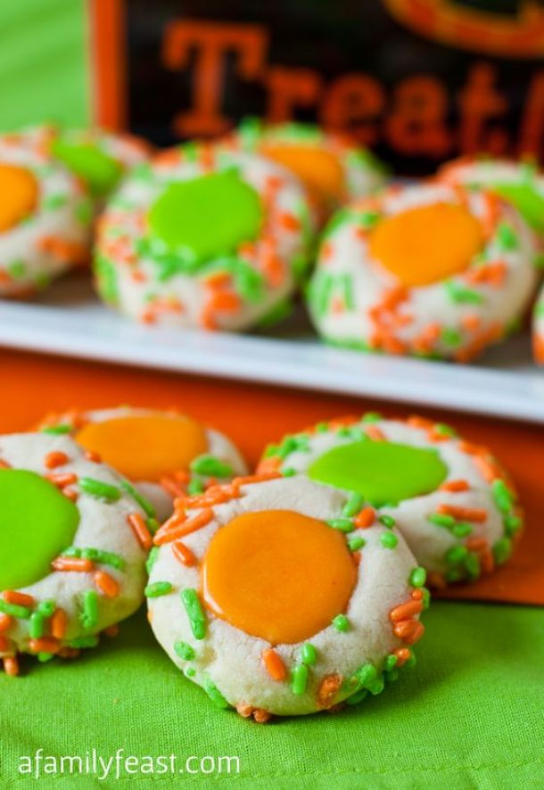 Halloween Thumbprint Cookies Recipe | A Family Feast