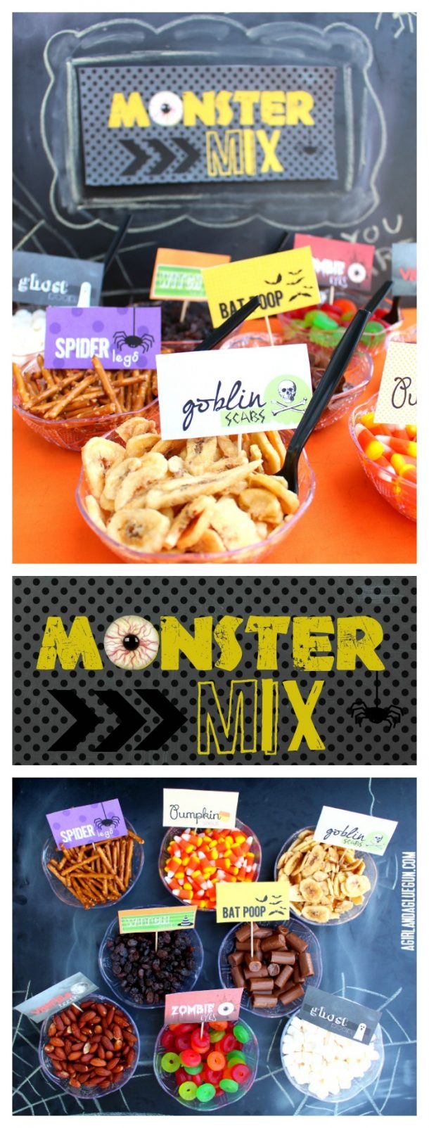 Non-Candy Halloween Snacks and Treats Ideas and Recipes - Monster Trail Mix Bar with healhier snack options and free printables via A Girl and a Glue Gun