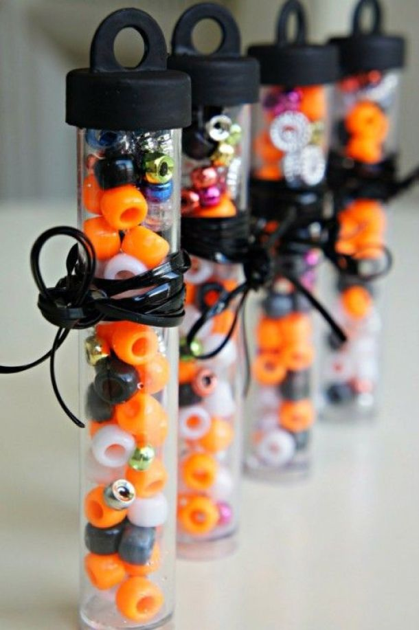 Non-Candy Halloween Treats and Favors Ideas and Recipes - Beads Necklace Craft Kits via Seeking Shade