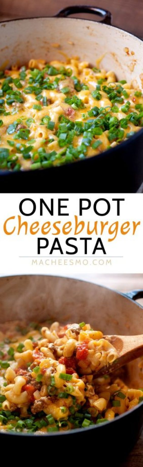 One Pot Cheeseburger Pasta {with a cheese lid!} Recipe | Macheesmo - The Best Easy One Pot Pasta Family Dinner Recipes