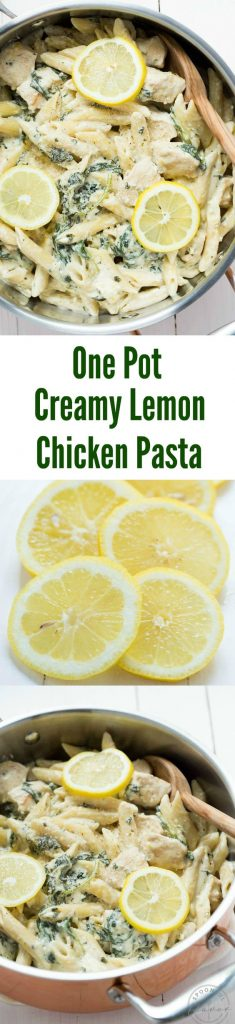 One Pot Creamy Lemon Chicken Pasta with Baby Kale Recipe | Spoonful of Flavor