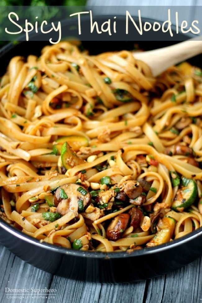 One Pot Spicy Thai Noodles Recipe   Domestic Superhero - The Best Easy One Pot Pasta Family Dinner Recipes