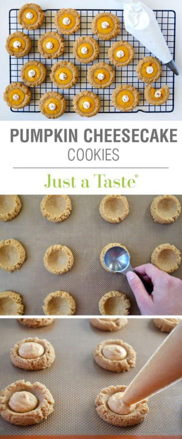 Pumpkin Cheesecake Thumbprint Cookies Recipe | Just a Taste