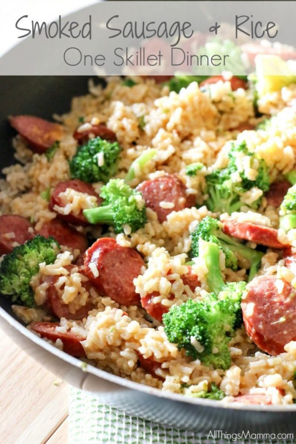 Quick Dinner Ideas - 15 Minute Smoked Sausage and Rice One-Skillet Dinner Recipe via All Things Mama