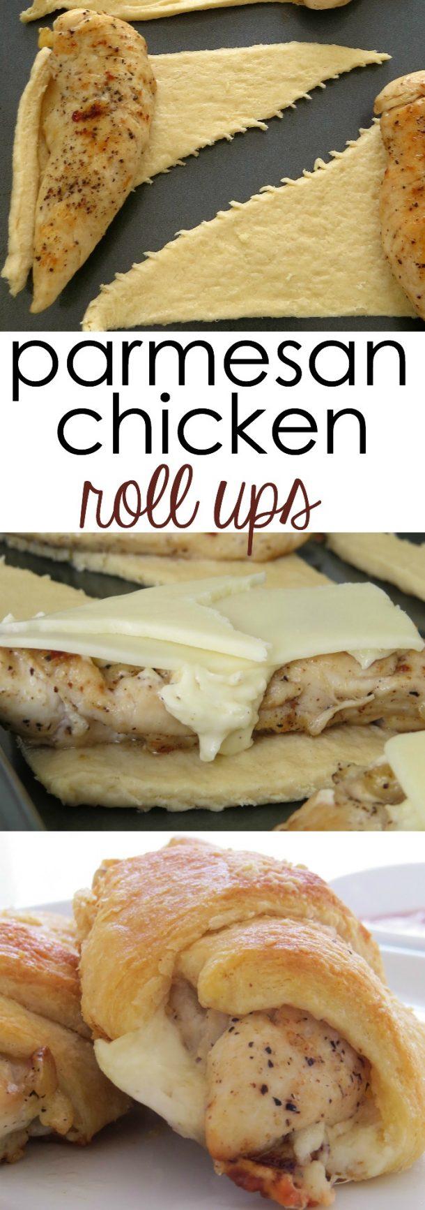 Quick Dinner Ideas - Parmesan Chicken Roll Ups Recipe via Written Reality