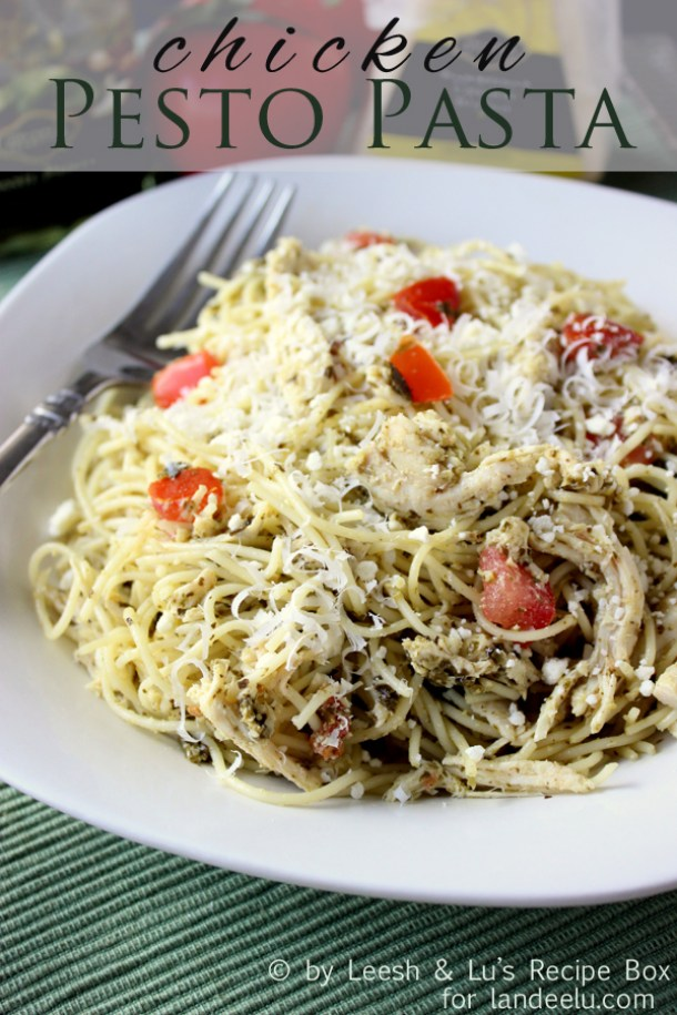 Quick Dinner Ideas - This Easy Chicken Pesto Pasta comes together in 20 minutes and is definitely a family favorite - Recipe via Landeelu