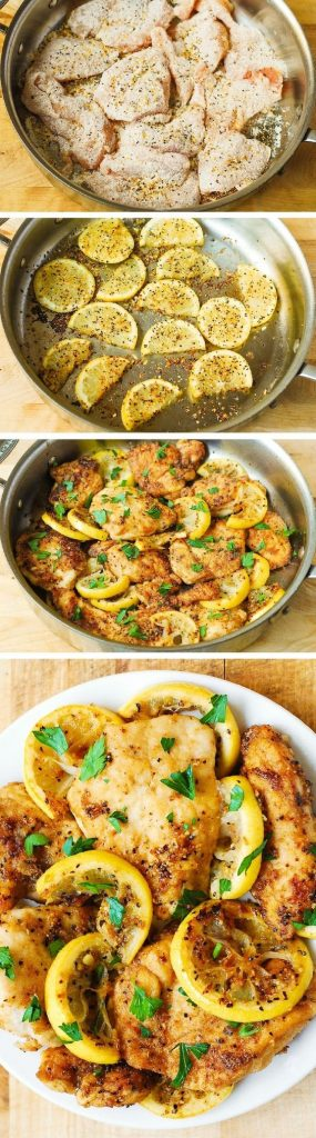 Quick Dinner Ideas - This lemon chicken skillet is a super quick and easy recipe that takes only 30 minutes to make. Healthy and gluten free via BHG Delish Dish