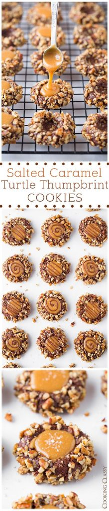 Salted Caramel Turtle Thumbprint Cookies Recipe | Cooking Classy