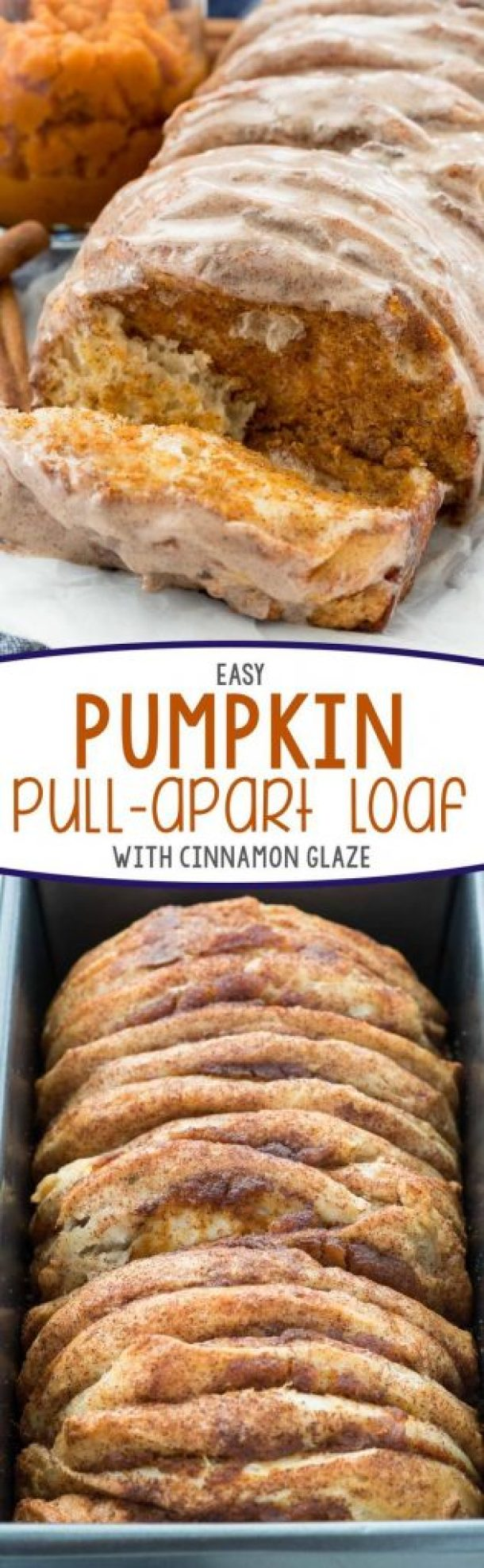 Easy Pumpkin Pull-Apart Loaf with Cinnamon Glaze Recipe | Crazy for Crust