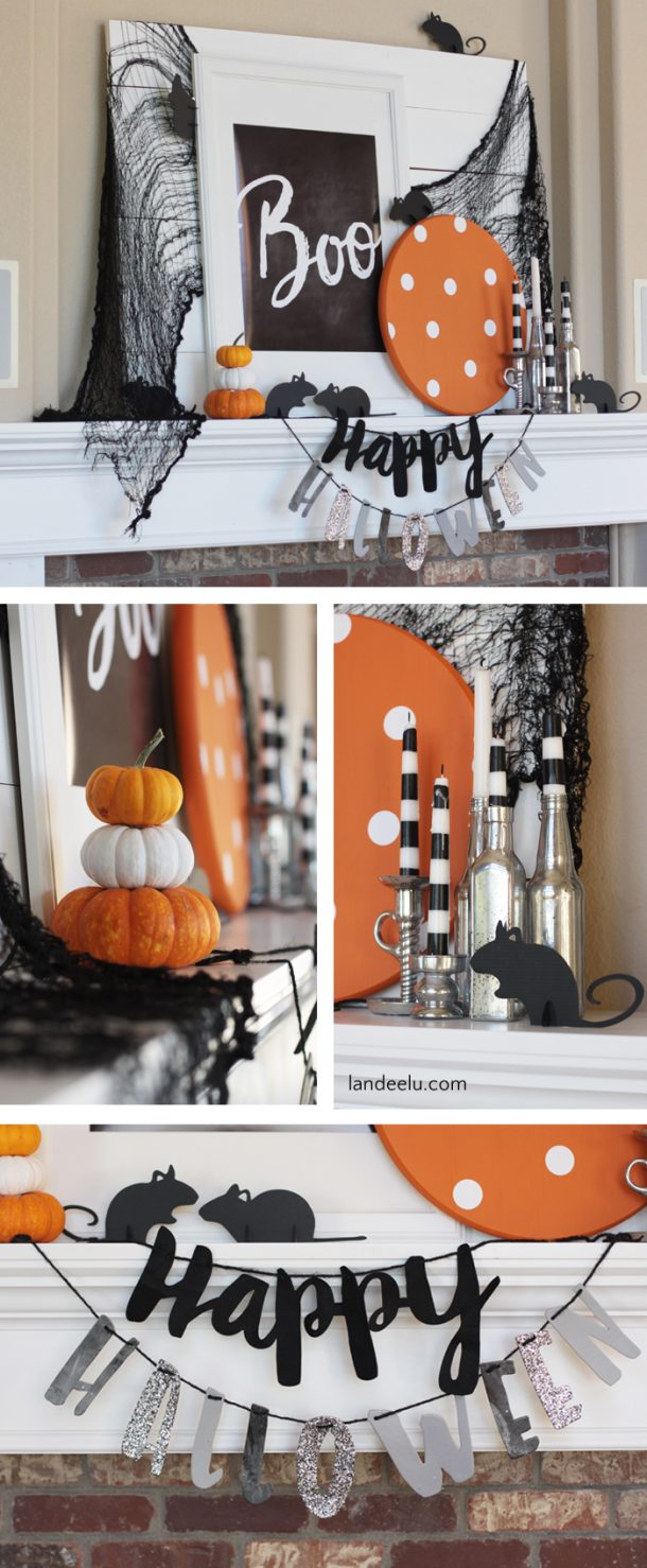 It's a little spooky, a little cute and a ton of fun!  BOO Free Printable and Halloween Mantel Ideas..with MICE!  | Landeelu - Such a cute Halloween mantel! Love the mice!