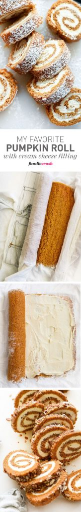Her Favorite Pumpkin Roll with Cream Cheese Filling Recipe   foodiecrush