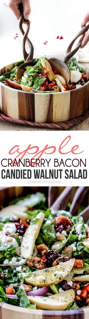 Apple Cranberry Bacon Candied Walnut Salad with Apple Poppy Seed Vinaigrette Recipe | Carlsbad Cravings