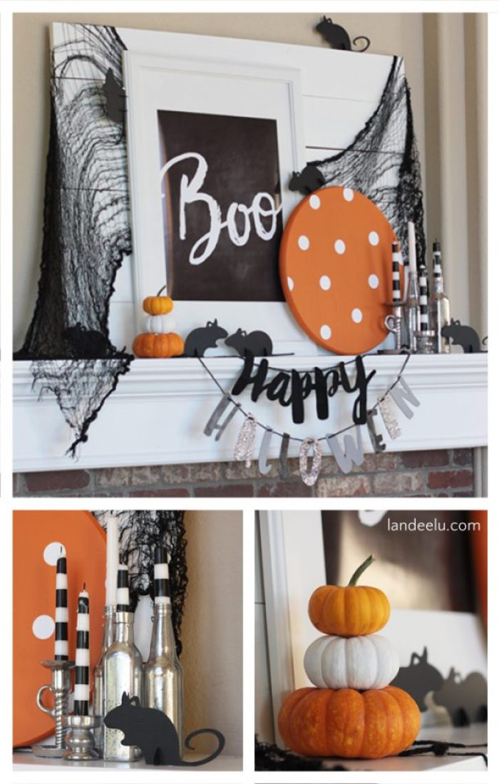 Such a cute Halloween mantel! Love the mice!
