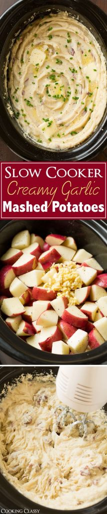 Slow Cooker Creamy Garlic Mashed Potatoes Holiday Side Dish Recipe | Cooking Classy