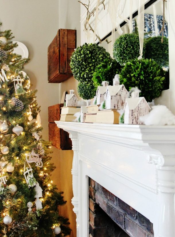 10 Minute Twig and Boxwood Winter Mantel Display   Thistlewood Farms - Christmas and Winter Mantel Displays and Decorations Ideas