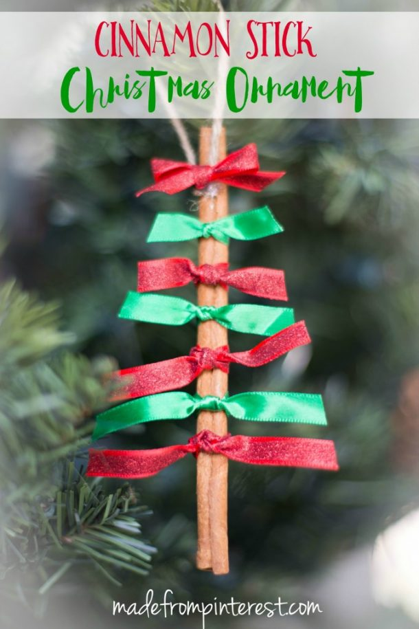Cinnamon Stick Ribbon Super Easy DIY Christmas Trees Ornaments {that smell wonderful!} | This Grandma is Fun - Easy and Cheap DIY Christmas Tree Ornaments