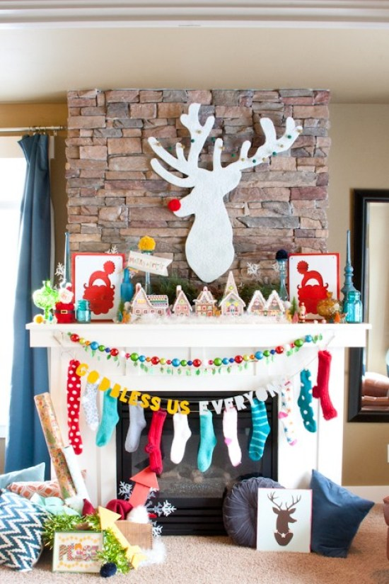 Colorful and Fun Christmas Mantel featuring DIY Rudolph the Red Nosed Reindeer Art!   Pocketful of Paint