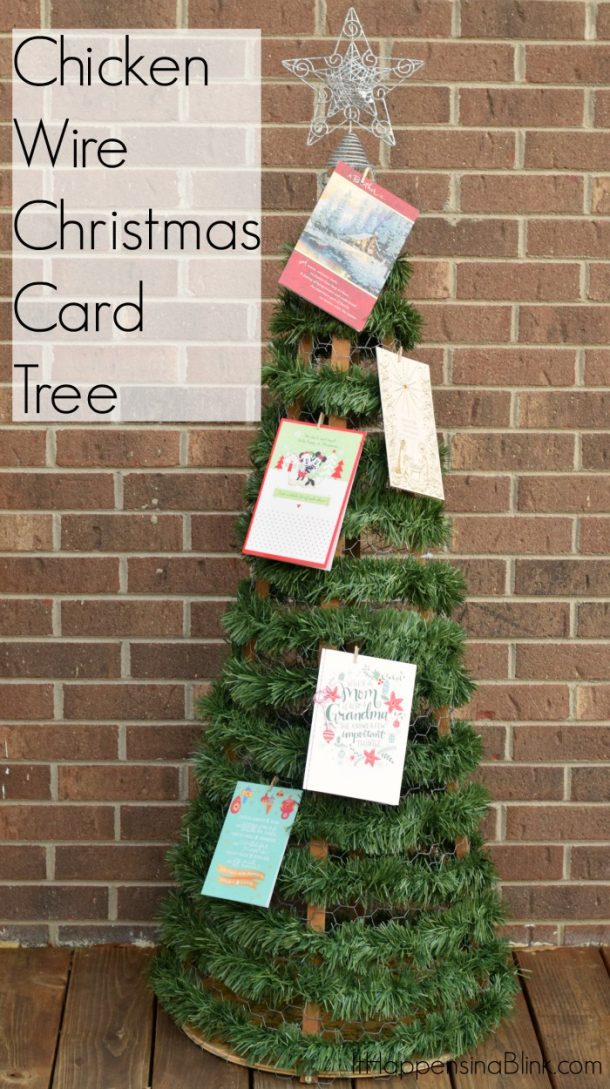 DIY Chicken Wire Christmas Card Tree Tutorial | It Happens in a Blink