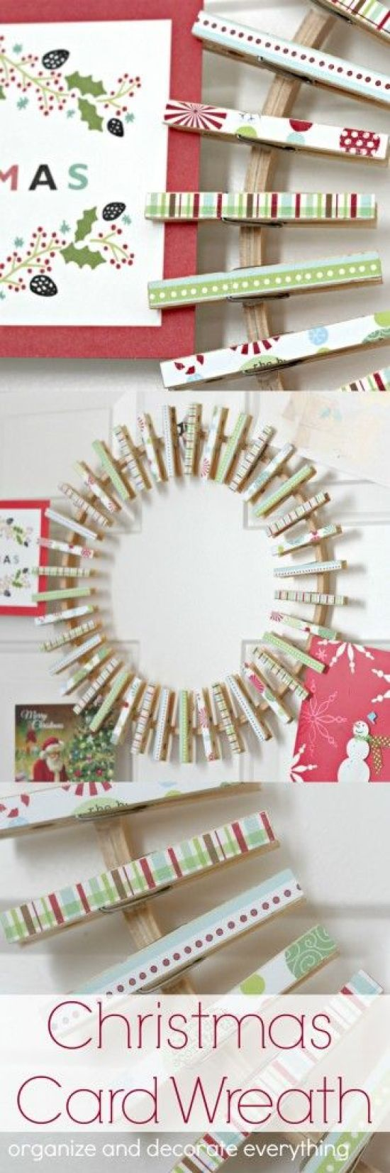 Make this fun and easy clothespin Christmas Card Wreath to hold and display all your Christmas cards this season! DIY Christmas Card Clothespin Wreath Tutorial | Organize & Decorate Everything