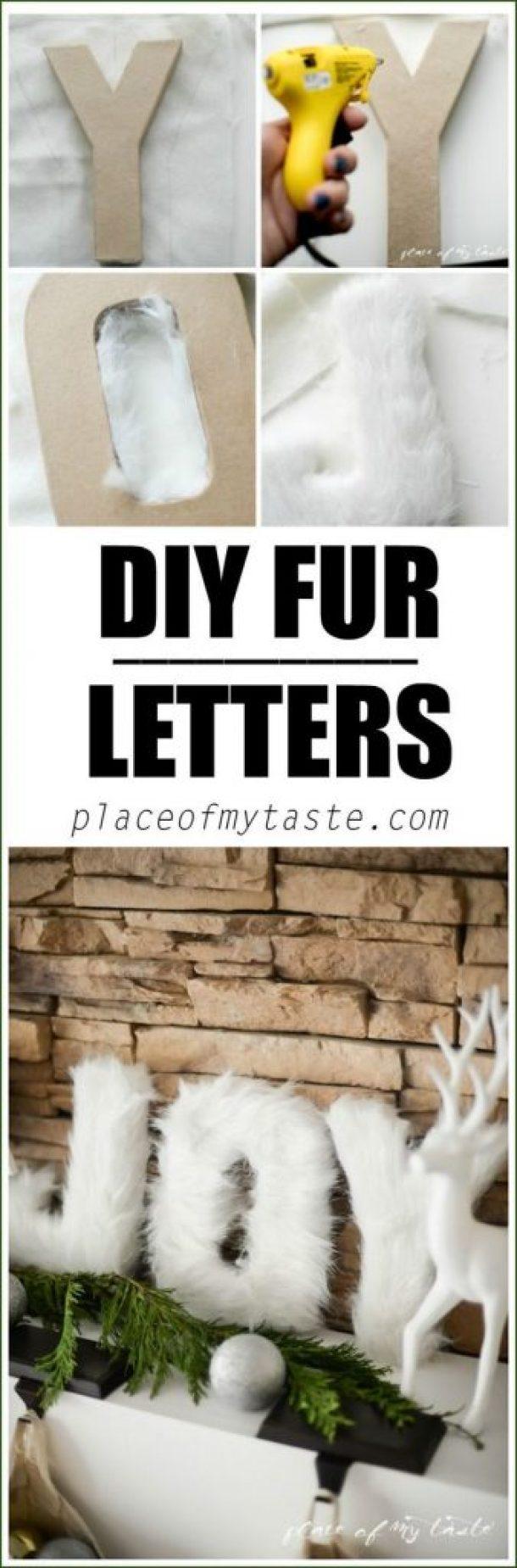 DIY Fur Letters Christmas Mantel Decorations Tutorial | Place of My Taste