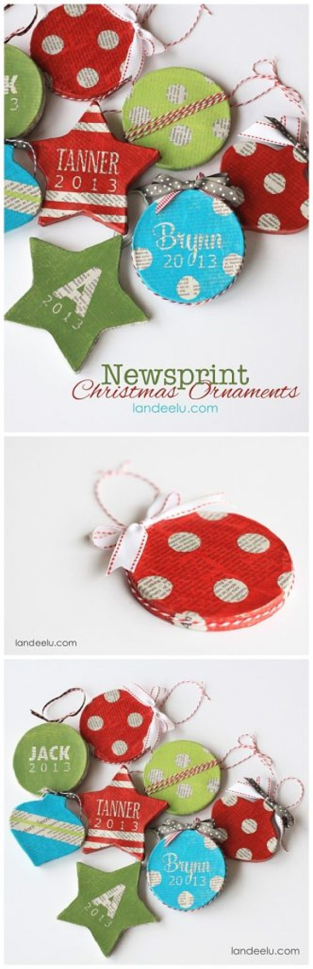 Grab some Mod Podge, newspaper and pretty colors of acrylic craft paint to make these EASY DIY Newsprint Ornaments! | Landeelu