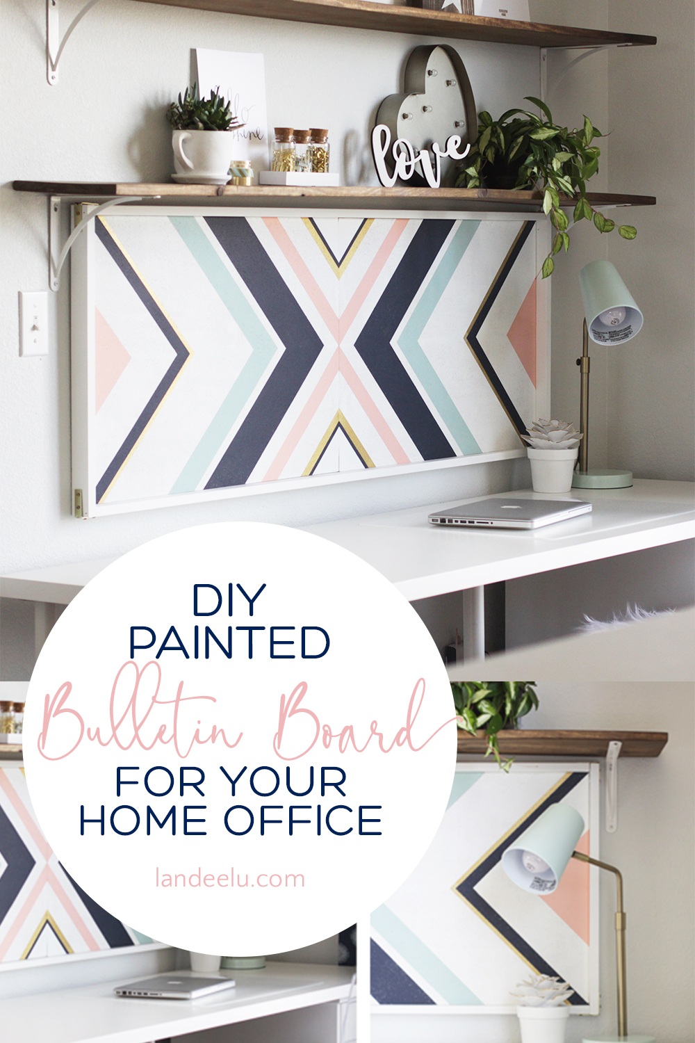 Easily create a beautiful and stylish bulletin board/cork board for your home office! #bulletinboard #homeoffice #diyhomeoffice