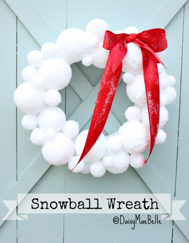DIY Snowball Wreath Tutorial | Daisy Mae Belle- The perfect wreath to bring some SNOW to the holidays whether you get any in your town or not!