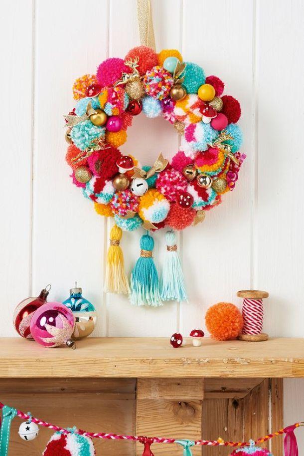 Darling POM POM Christmas Wreath Idea | Mollie Makes Magazine