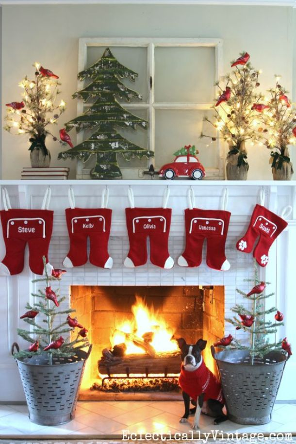 darling retro christmas mantel decorations ideas eclectically vintage kelly elko christmas and winter mantel - Pictures Of Mantels Decorated For Christmas