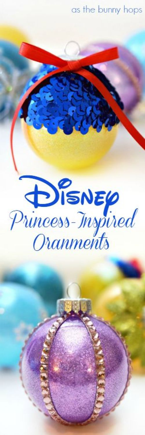 Disney Princess-Inspired Christmas Ornaments | As the Bunny Hops - Easy and Cheap DIY Christmas Tree Ornaments Tutorials