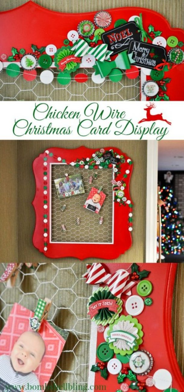Do it Yourself Chicken Wire Framed Christmas Card Display with Buttons! | Bombshell Bling