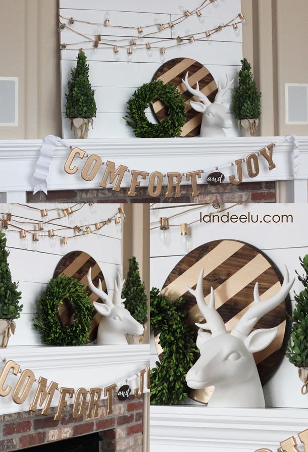 Gold, White and Warm DIY Winter and Christmas Mantel Ideas | Landeelu